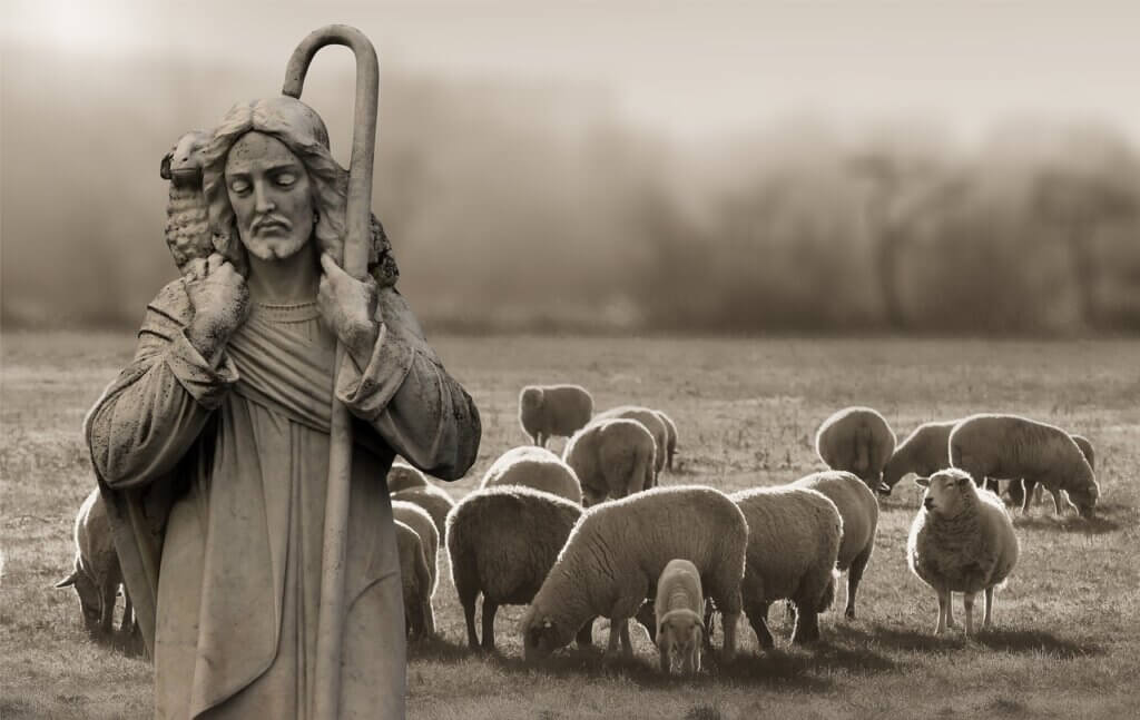 Jesus with a Flock of Sheep