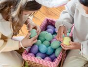 kids opening easter eggs